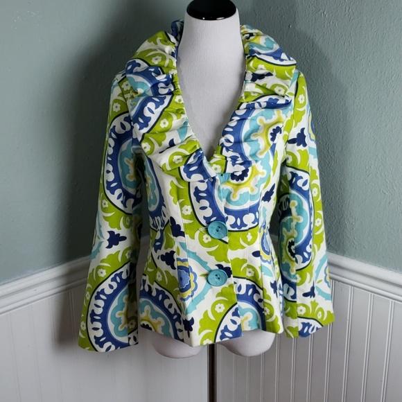 3 Sisters Jackets & Blazers - 3 Sisters Paisley Ruffle Collar Blazer